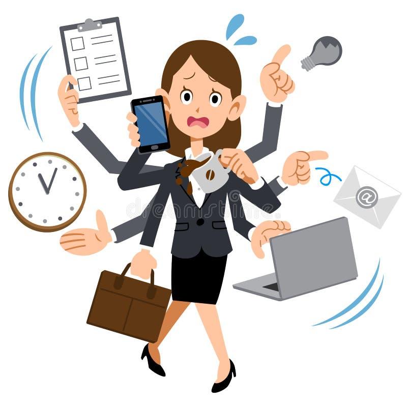 Una donna che lavora ad una società che è troppo occupata illustrazione di stock