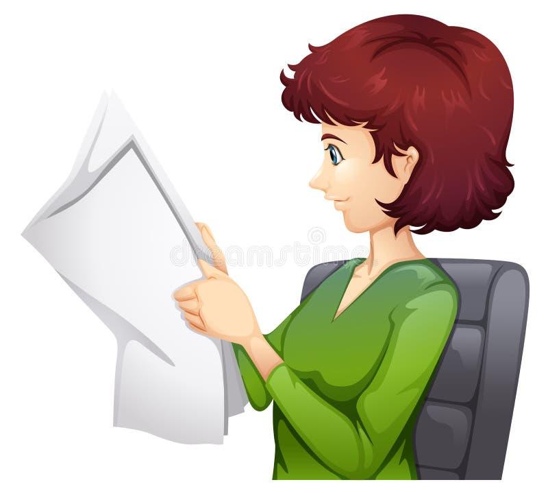 Una donna che legge un tabloid illustrazione vettoriale