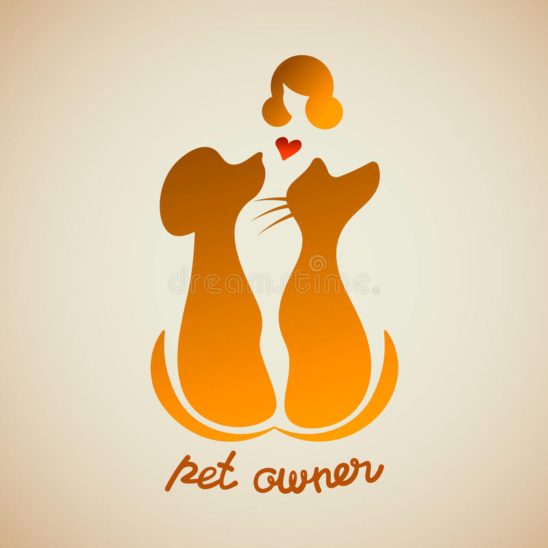 Una donna che tiene tenero il suo cane e un gatto Siluetta della ragazza con gli animali domestici dello spazio ed il proprietari illustrazione vettoriale