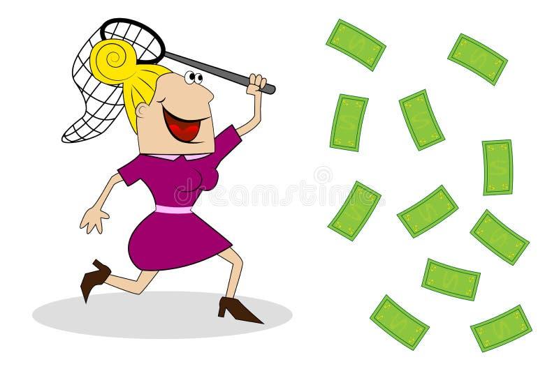Una donna con i fermi di una rete della farfalla di soldi illustrazione di stock