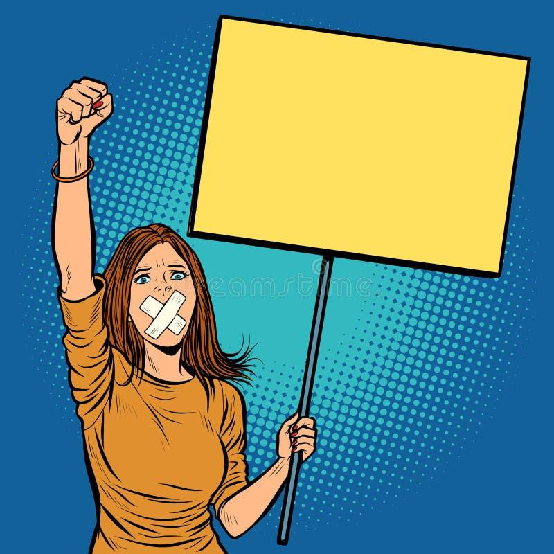 Una donna con un bavaglio nella sua bocca protesta per libertà di parola a illustrazione di stock