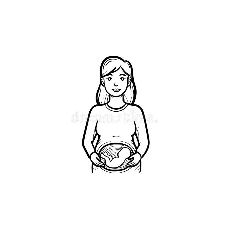 Una donna con un feto nell'icona disegnata a mano di scarabocchio del profilo dell'utero illustrazione di stock
