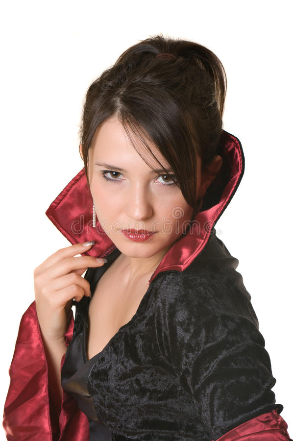 Una donna con un vestito antiquato fotografia stock