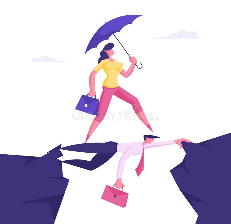 Una donna d'affari con ombrello in mano supera Abyson che passa per il ritorno di un uomo d'affari come su Bridge, Social Climber illustrazione vettoriale