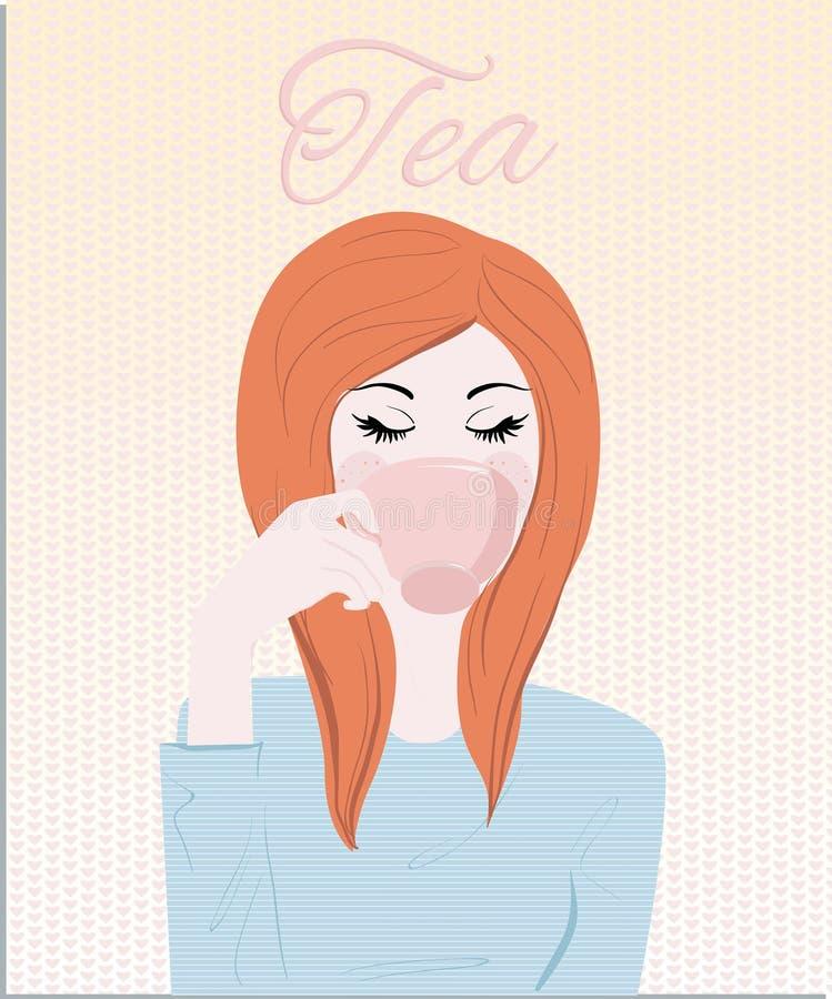 Una donna d'annata del redhair che beve la sua tazza dell'illustrazione del tè royalty illustrazione gratis