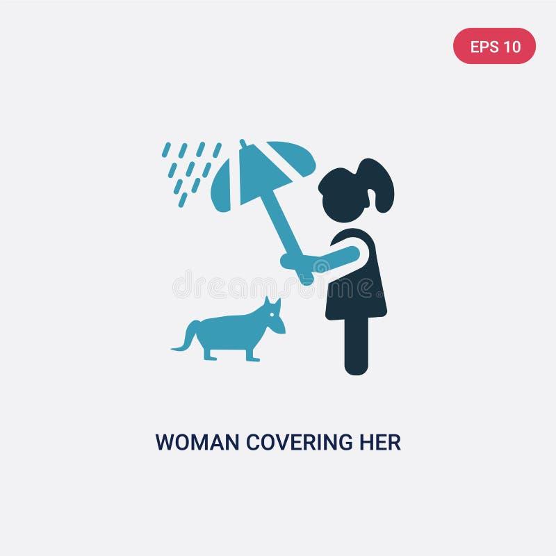 Una donna di due colori che copre il suo animale domestico di icona di vettore dell'ombrello dal concetto della gente donna blu i royalty illustrazione gratis