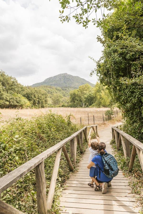 Una donna e un bambino fanno escursionismo, camminando su una passerella di legno fotografia stock libera da diritti