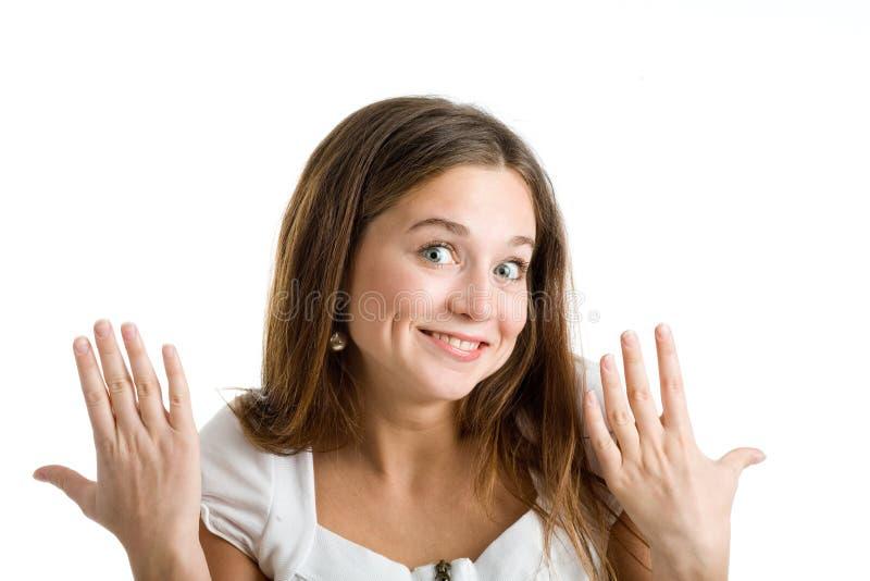 Una donna felice e sorpresa fotografie stock libere da diritti