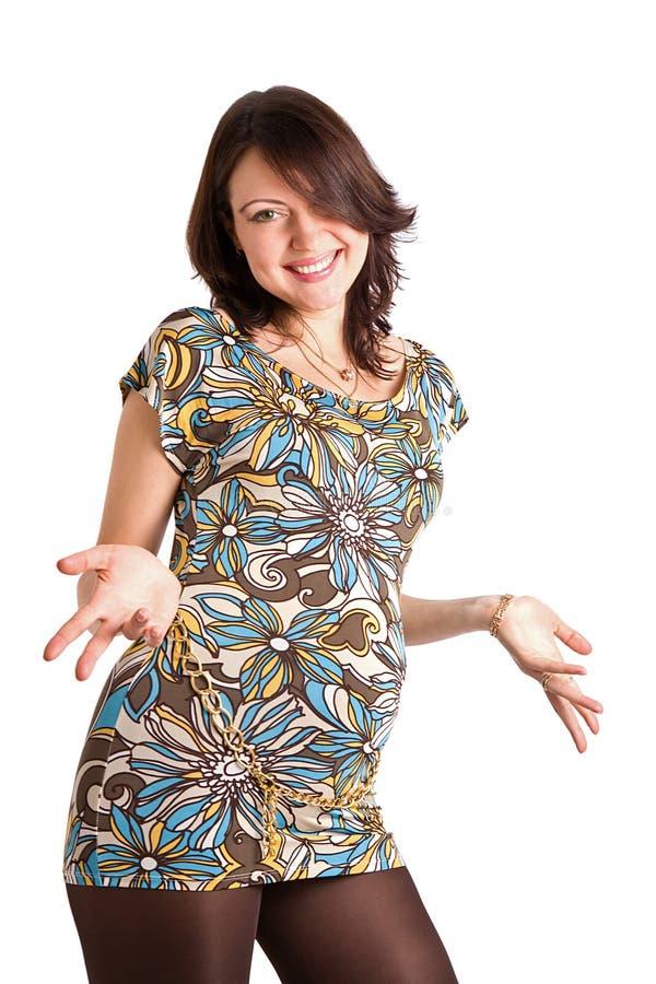 una donna incinta felice da 21 settimana fotografie stock libere da diritti