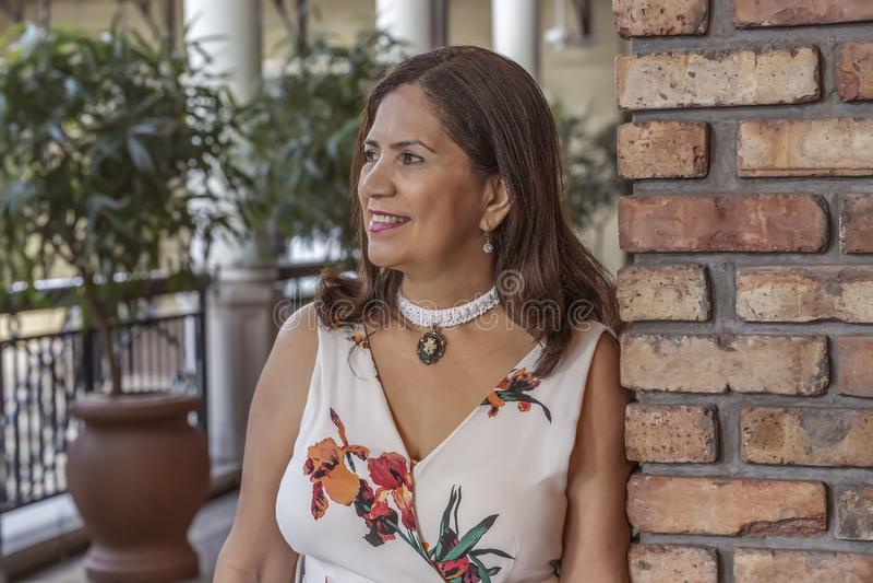 Una donna matura latina specializzata si appoggia distogliere lo sguardo del muro di mattoni fotografie stock