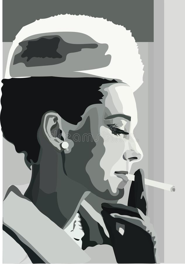 Una donna molto elegante con la sigaretta illustrazione vettoriale
