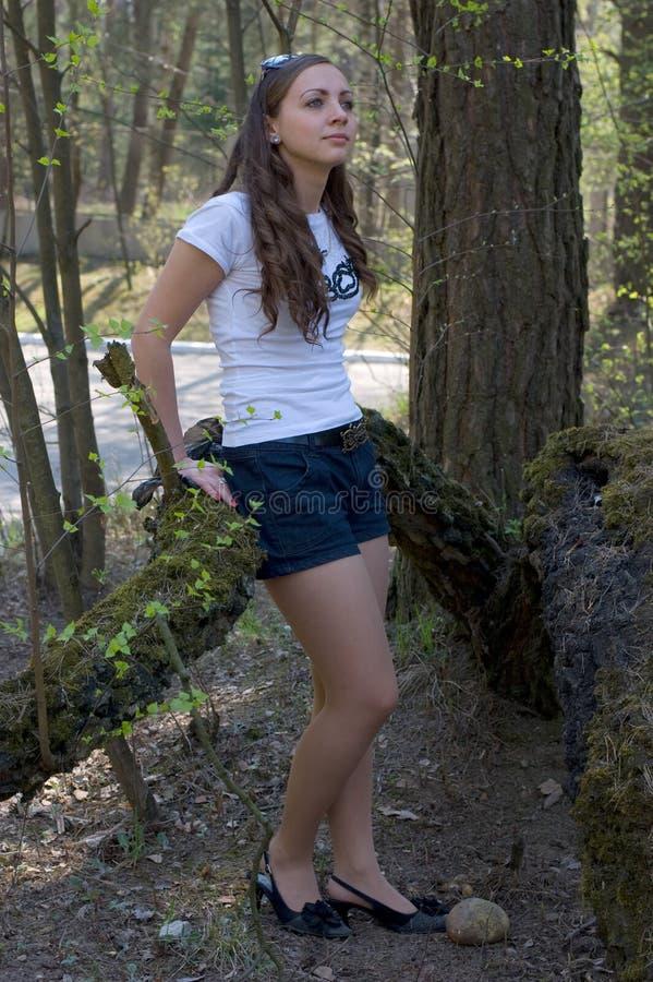 Una donna nella foresta immagine stock libera da diritti