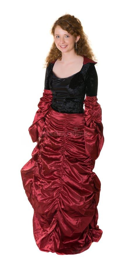 Una donna si è vestita in vestito antiquato fotografia stock