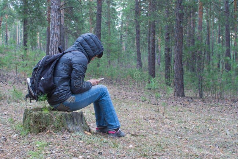 Una donna si siede su un ceppo nel legno nelle prime ore del mattino e nel ch fotografie stock
