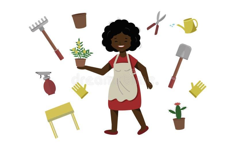 Una donna spruzza un fiore in un vaso La femmina prende la cura delle piante domestiche La signora felice coltiva i fiori illustrazione vettoriale