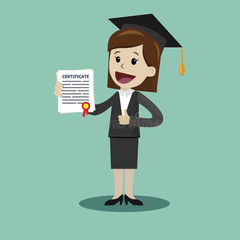 Una donna in una tenuta del vestito un certificato di laurea dell'istituto universitario o scuola di commercio o diploma dell'uni illustrazione vettoriale