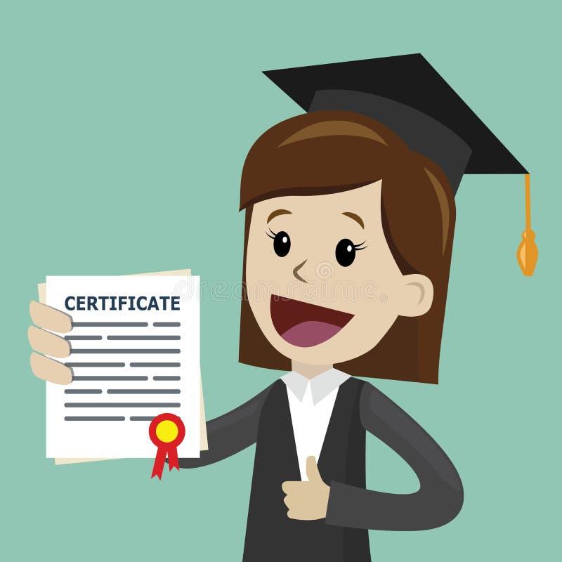 Una donna in una tenuta del vestito un certificato di laurea dell'istituto universitario o scuola di commercio o diploma dell'uni illustrazione di stock