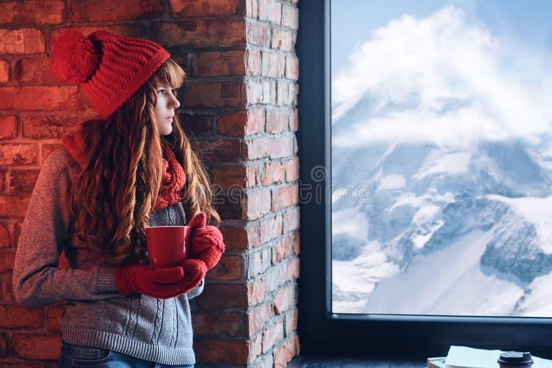Una donna tiene il caffè e esaminare la finestra su un mou dell'inverno immagini stock libere da diritti