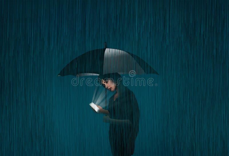 Una donna utilizza il suo telefono cellulare mentre sta con un ombrello nella pioggia su una notte scura con niente intorno lei o illustrazione vettoriale