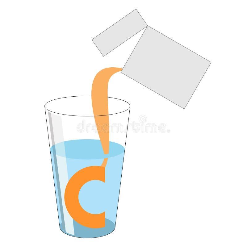 Una dose di polvere con vitamina C è versata dal pacchetto int illustrazione vettoriale