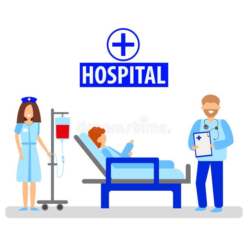 Una enfermera y un doctor diagnostican a un paciente El concepto de medicina y de salud ilustración del vector