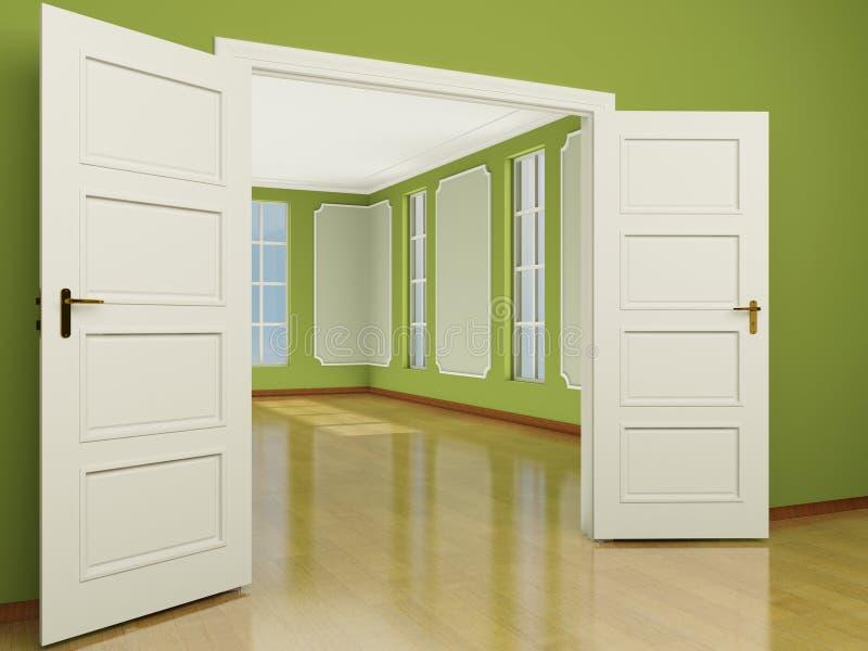 una entrada abierta de par en par de la puerta a la sala On crea una entrada a la sala de estar