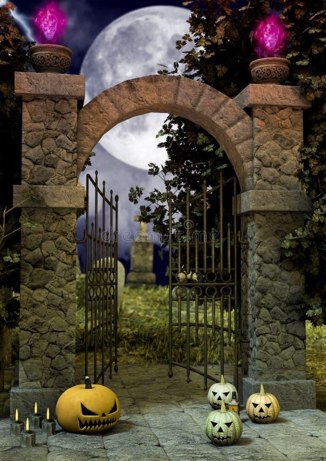 Una entrada de un cementerio espeluznante por completo de las calabazas de Halloween en el piso libre illustration