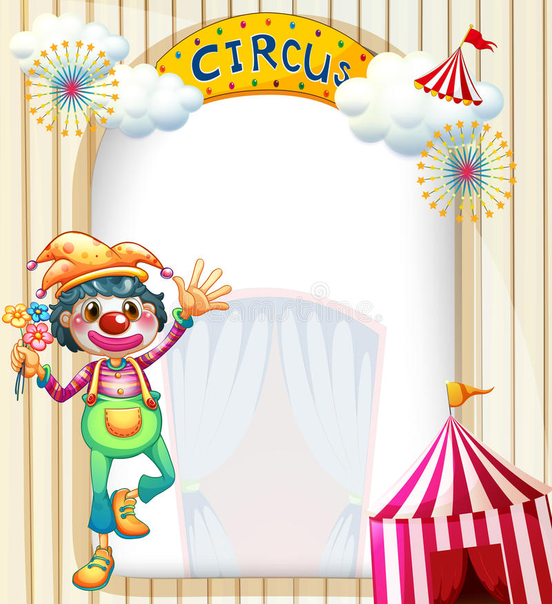 Una entrada del circo con un payaso ilustración del vector