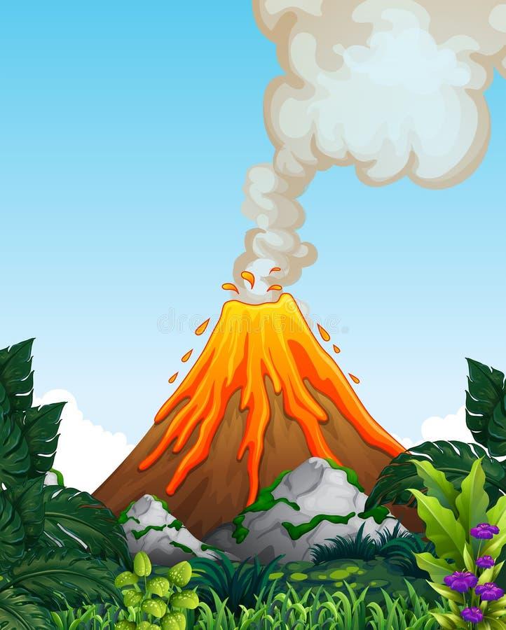 Una erupción peligrosa del volcán ilustración del vector