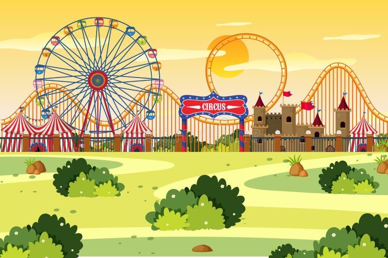 Una escena al aire libre con el circo libre illustration
