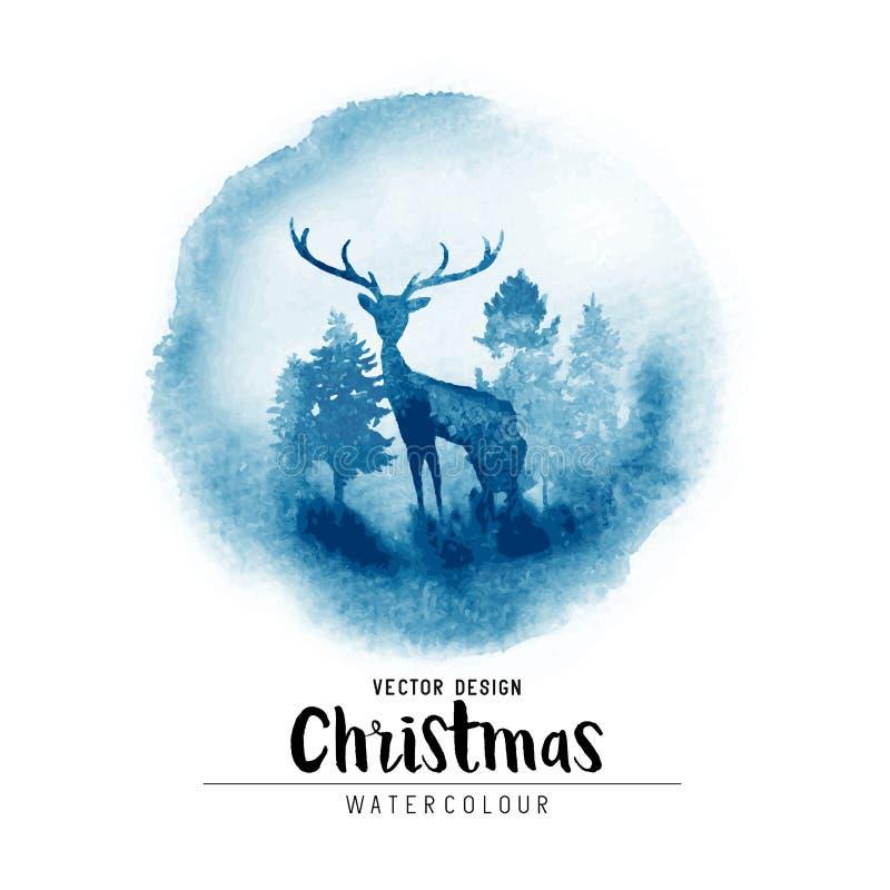Una escena de la acuarela de la Navidad del invierno stock de ilustración