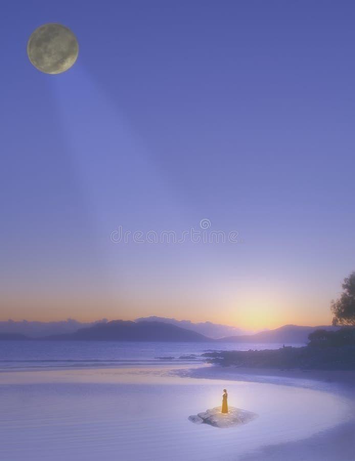 Una escena de la fantasía de una figura en la costa foto de archivo libre de regalías