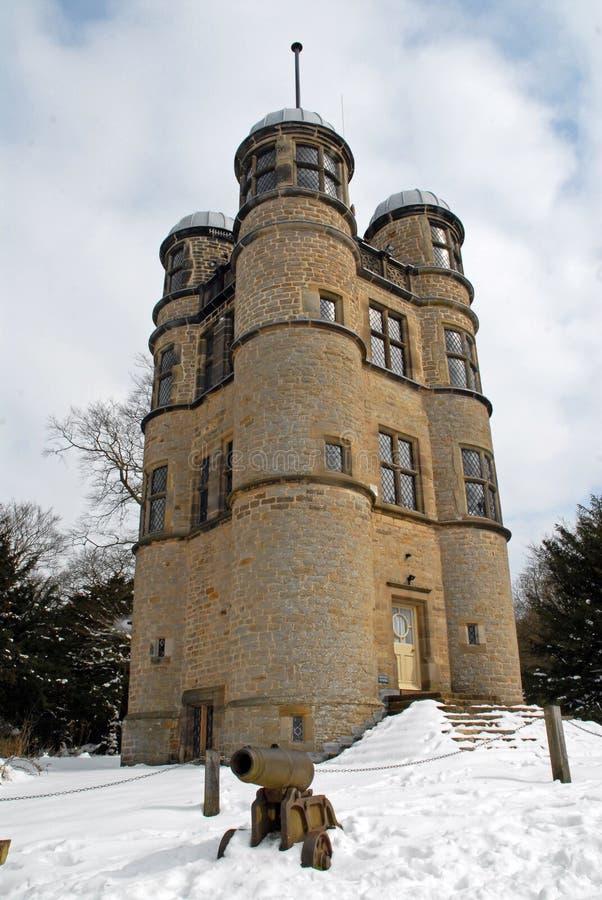 Casa de cazadores de Chatsworth en la nieve fotos de archivo libres de regalías