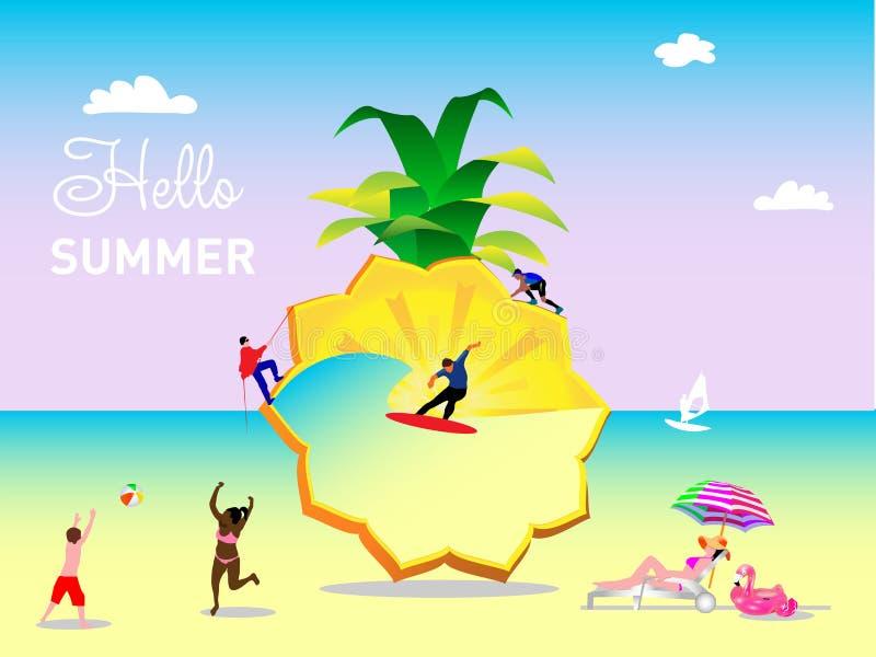 Una escena del verano, un grupo de personas, la familia y los amigos se están divirtiendo con una piña enorme ilustración del vector