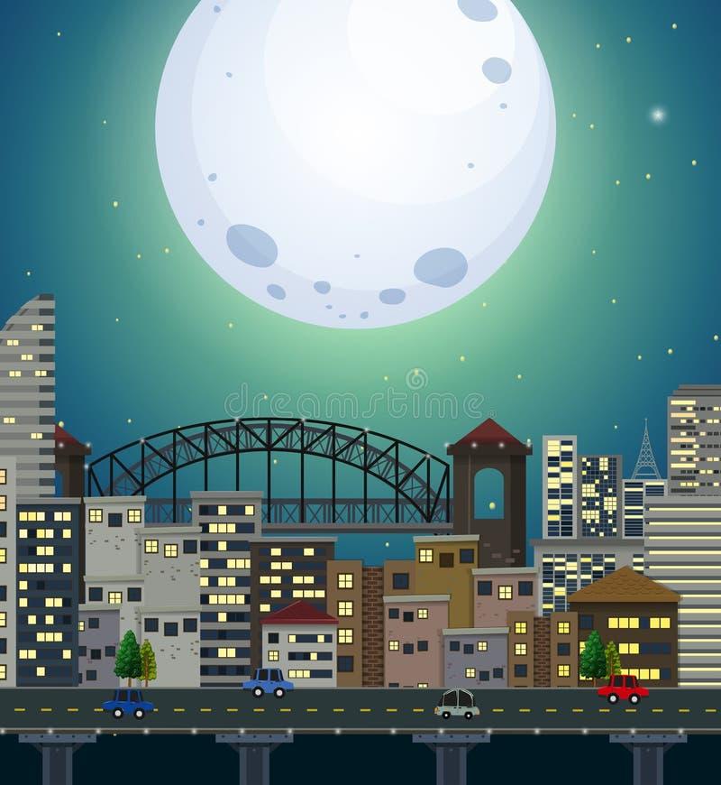 Una escena gigante de la ciudad de la Luna Llena ilustración del vector