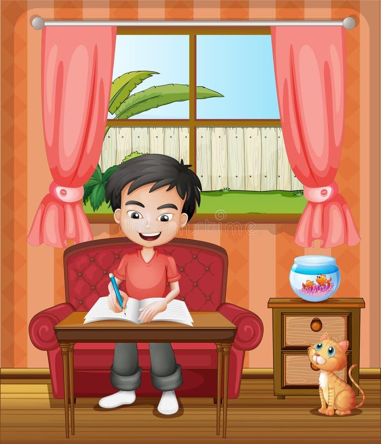 Una escritura joven del muchacho stock de ilustración