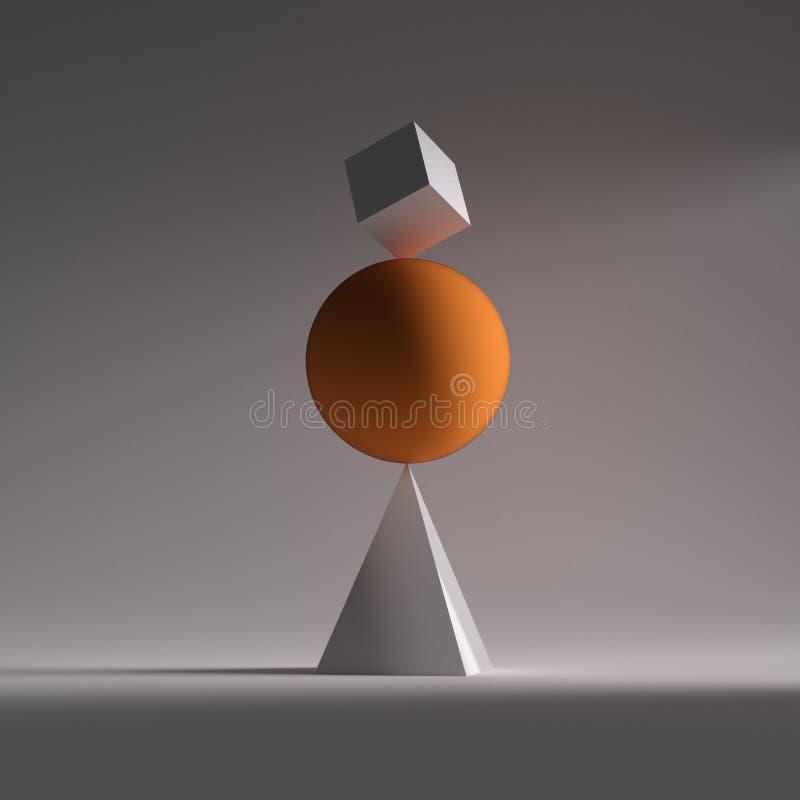 Una esfera anaranjada, un cuadrado y triángulo en equilibrio stock de ilustración
