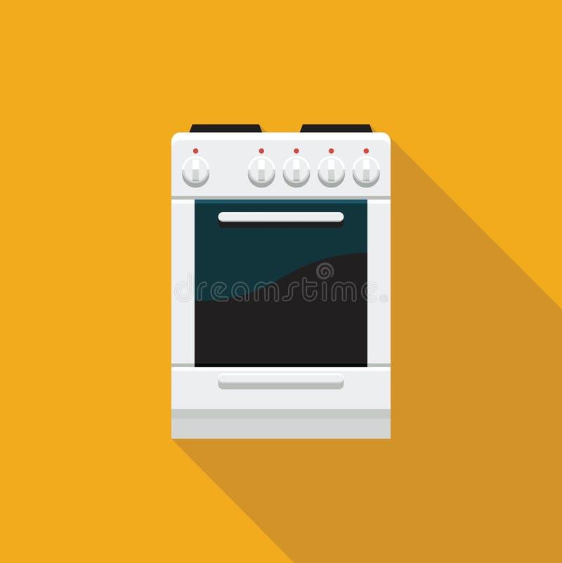 Una estufa con un horno Icono plano ilustración del vector