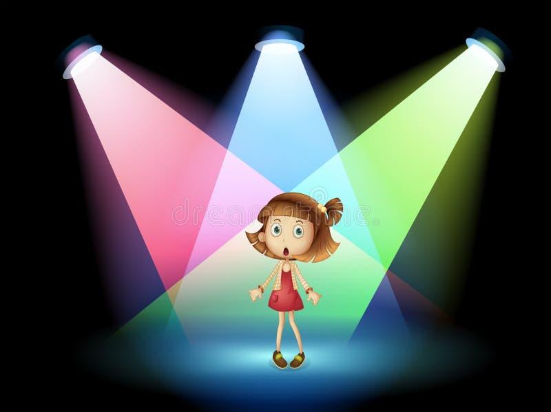 Una etapa con una actriz joven stock de ilustración