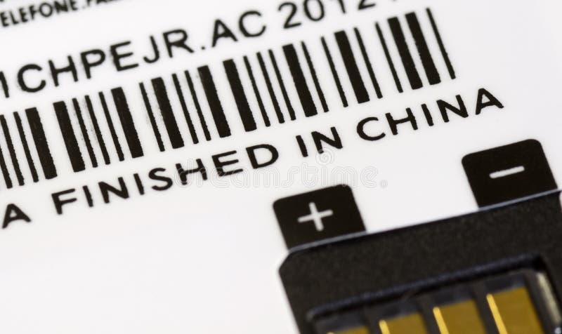 Una etiqueta con final en el título de China imagenes de archivo