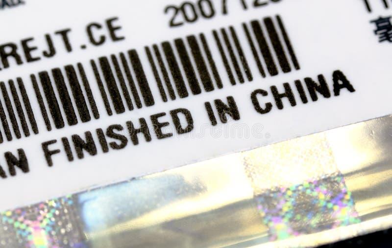 Una etiqueta con final en el título de China imagen de archivo libre de regalías