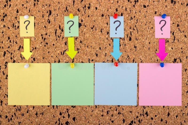 Una etiqueta engomada con un signo de interrogación se ata al tablero del corcho Etiquetas engomadas vacías para el espacio de la imagen de archivo libre de regalías