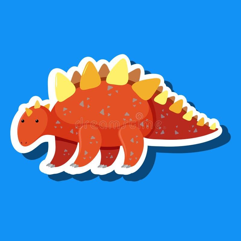 Una etiqueta engomada simple del dinosaurio stock de ilustración