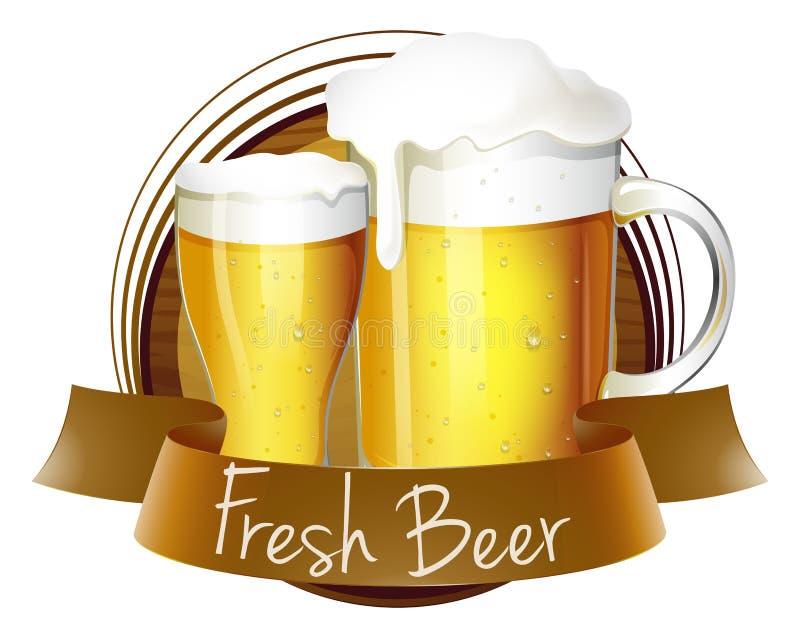 Una etiqueta fresca de la cerveza con una jarra y un vidrio de cerveza stock de ilustración