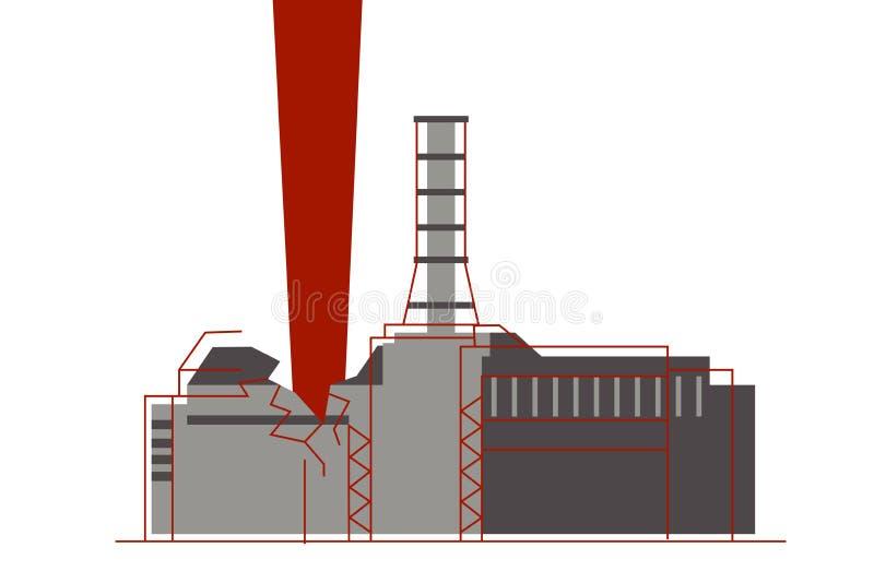 Una explosión de la emisión de la radiación del reactor nuclear y del átomo en la central nuclear ilustración del vector