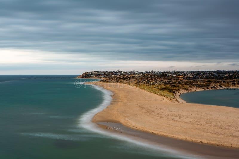 Una exposición larga en el sur de Australia portuario de la playa de Noarlunga el 10 de marzo de 2019 imagen de archivo libre de regalías