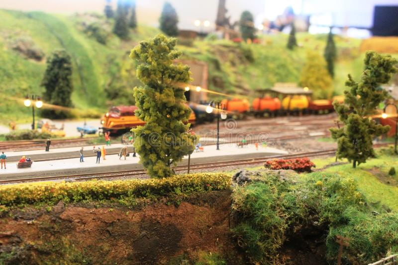 Una exposición modelo interesante del tren en Luxemburgo fotografía de archivo libre de regalías