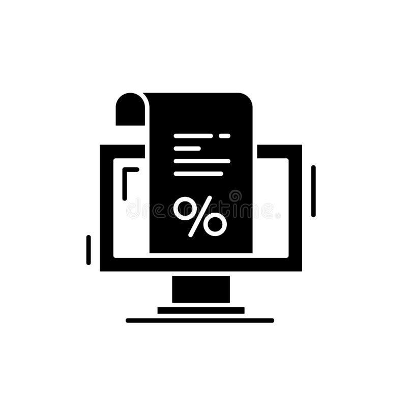 Una factura para el icono del negro del pago, muestra del vector en fondo aislado Una factura para el símbolo del concepto del pa stock de ilustración
