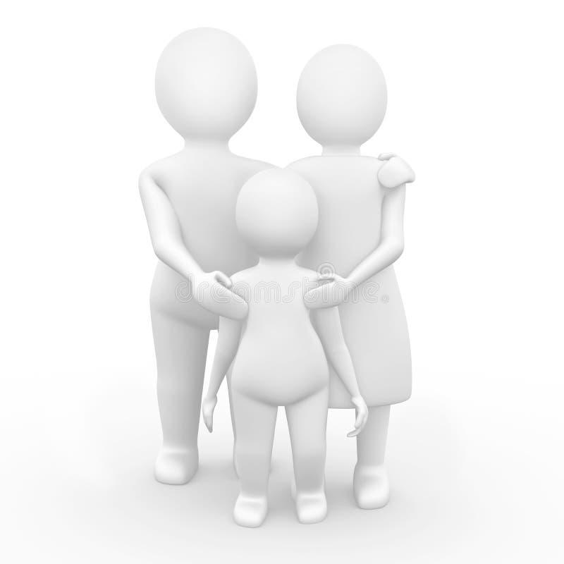 una famiglia 3d di tre membri royalty illustrazione gratis