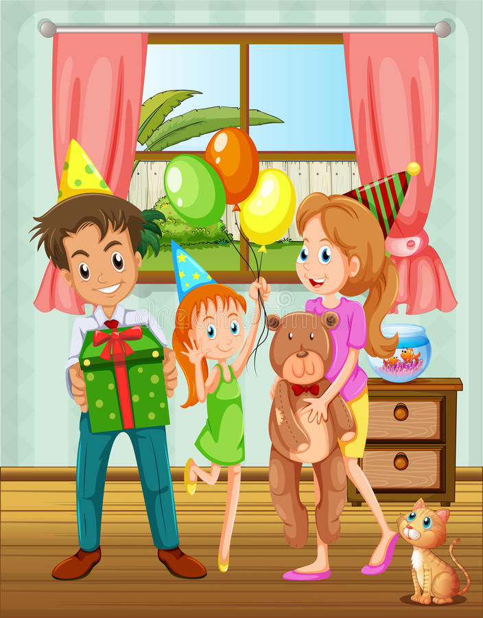 Una famiglia dentro la casa vicino alla finestra royalty illustrazione gratis